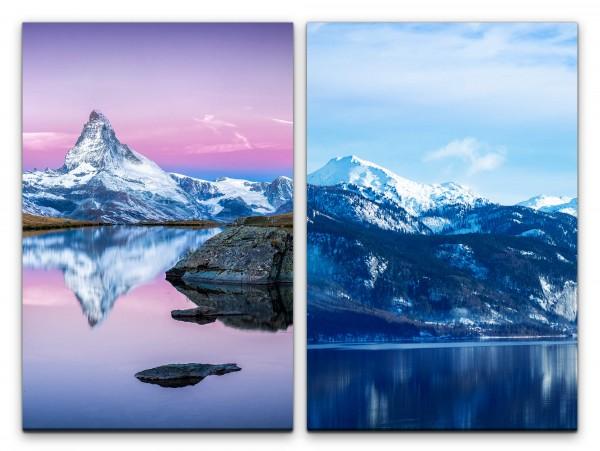 2 Bilder je 60x90cm Matterhorn Alpen Berge See Klarheit Ruhe Stille