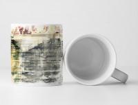 Tasse Geschenk grau, antik-weiße Abstraktion