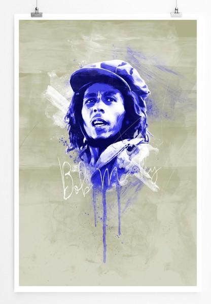 Bob Marley III 90x60cm Paul Sinus Art Splash Art Wandbild als Poster ohne Rahmen gerollt
