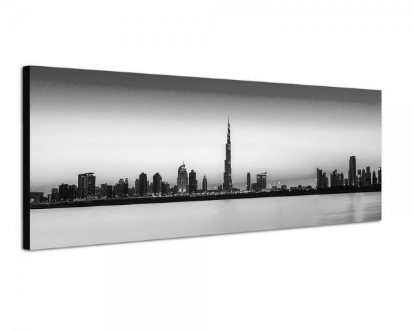 150x50cm Dubai Skyline Wolkenkratzer Wasser Abendlicht