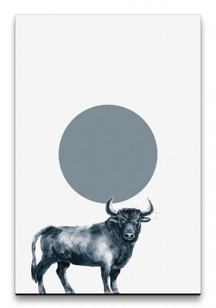 Bulle Stier Minimalistisch Modern Wasserfarben Grautöne