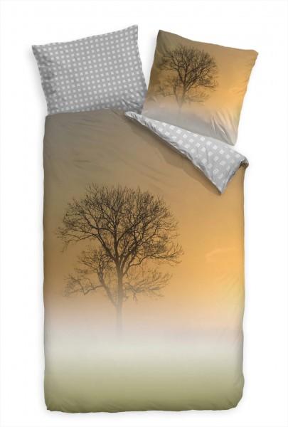 Nebel Landschaft Baum Orange Bettwäsche Set 135x200 cm + 80x80cm Atmungsaktiv