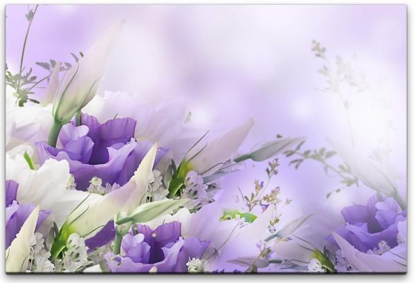 Blumen in weiß und Lila Wandbild in verschiedenen Größen
