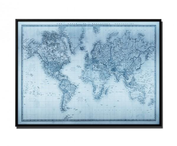 105x75cm Leinwandbild Petrol Weltkarte 1860