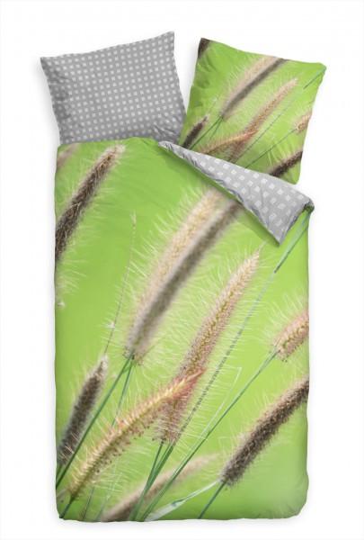 Schilf Gras Grn Makro Bettwäsche Set 135x200 cm + 80x80cm Atmungsaktiv