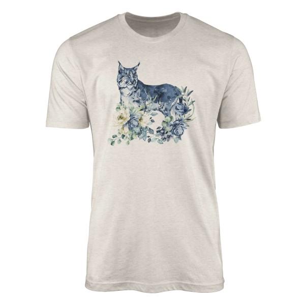 Herren Shirt 100% gekämmte Bio-Baumwolle T-Shirt Aquarell Luchs Blumen Motiv Nachhaltig Ökomode aus