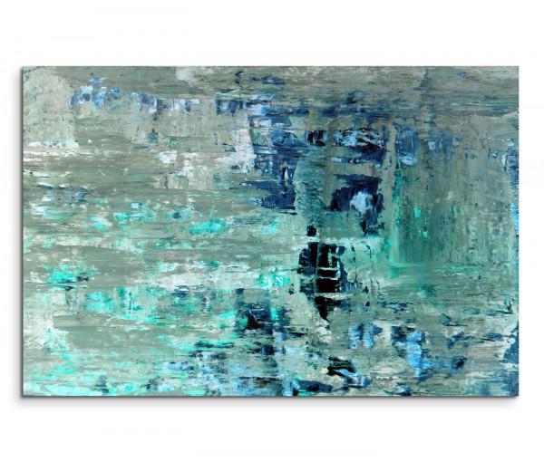 120x80cm Wandbild Kunstmalerei blau grün abstrakt
