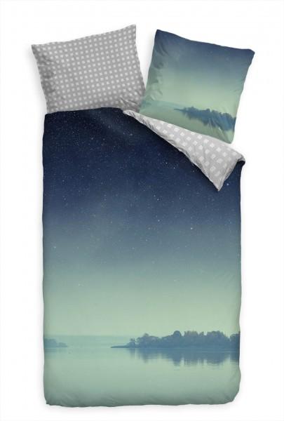 Insel Meer Nacht Sterne Blau Bettwäsche Set 135x200 cm + 80x80cm Atmungsaktiv