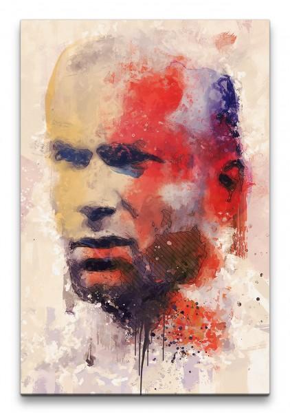 Zidane Porträt Abstrakt Kunst Fußballlegende Farben Fußball 60x90cm Leinwandbild