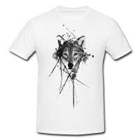 Wolf Herren und Damen T-Shirt BLACK-WHITE