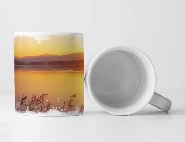 Tasse Geschenk Landschaftsfotografie – Goldener Schilfsee