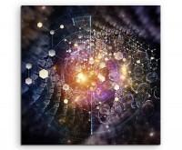 Künstlerische Collage Physik, Chemie, Naturwissenschaften, Bildung auf Leinwand exklusives Wandbild