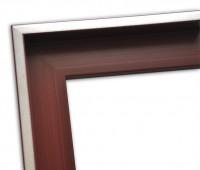 Echtholz Schattenfugenrahmen schlicht in dunkelrot mit Silberkante
