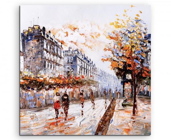 Ölgemälde Straßenszene in Paris auf Leinwand