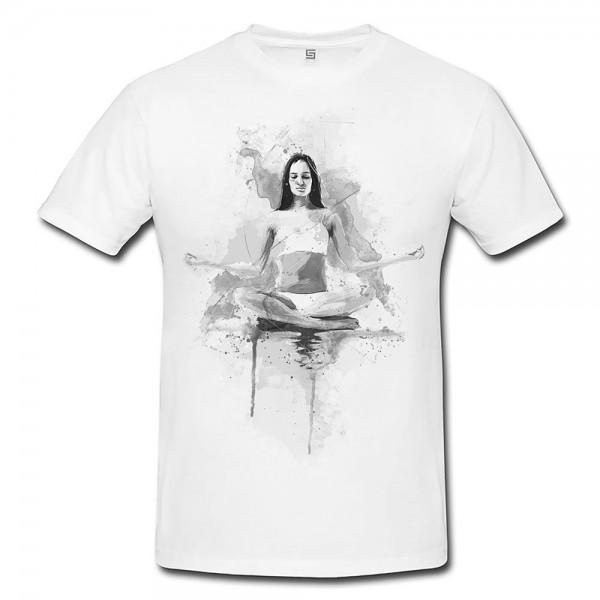 Yoga Herren und Damen T-Shirt BLACK-WHITE