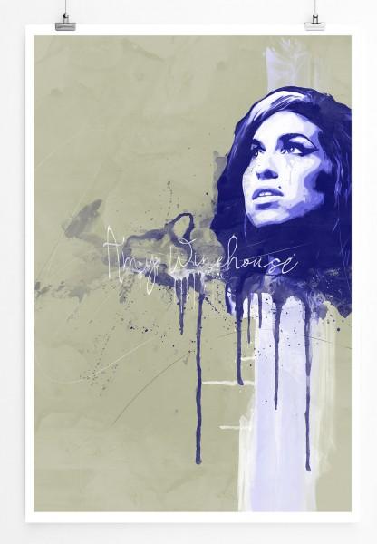Amy Winehouse 90x60cm Paul Sinus Art Splash Art Wandbild als Poster ohne Rahmen gerollt