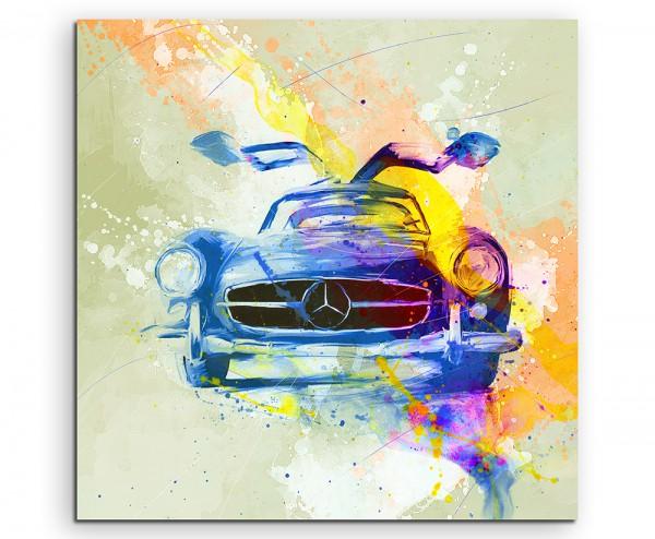 Mercedes SLS Oldtimer 60x60cm Aquarell Art Leinwandbild
