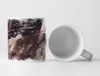 Tasse Geschenk dunkelbraun-schwarz überlaufend, Beigen Farbspritzern