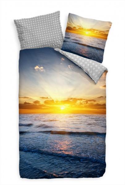 Sonnenuntergang Meer Sonne Blau Gelb Bettwäsche Set 135x200 cm + 80x80cm Atmungsaktiv