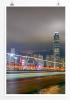 60x90cm Poster Urbane Fotografie – Hongkong bei Nacht