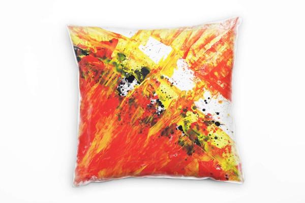 Couch Sofa Lounge Zierkissen in 40x40cm Rot Gelb Tomatenrot Olivgrün
