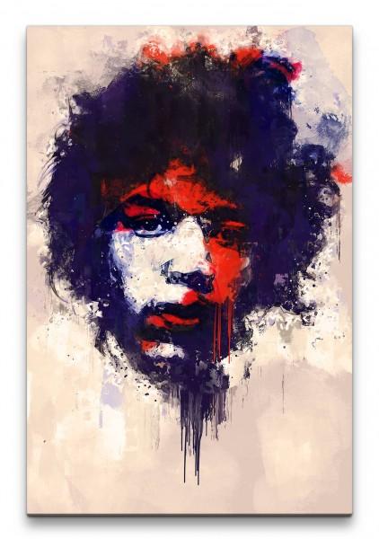 Jimi Hendrix Porträt Abstrakt Kunst Musiklegende Gitarrist Ikone 60x90cm Leinwandbild