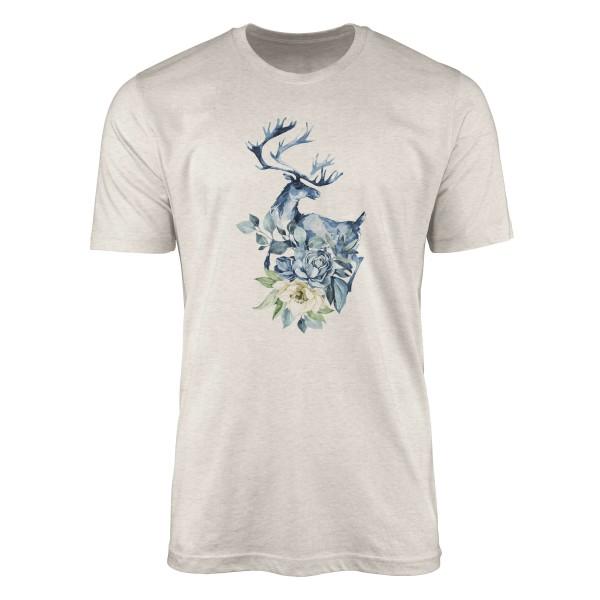 Herren Shirt 100% gekämmte Bio-Baumwolle T-Shirt Aquarell Elch Blumen Motiv Nachhaltig Ökomode aus