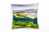 Landschaft, grün, grau, Morgen, Wald, Dunst, Ukraine Deko Kissen 40x40cm für Couch Sofa Lounge Zierk