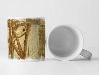 Tasse Geschenk sandbraune Grundierung, dunkel-goldrute Abstraktion