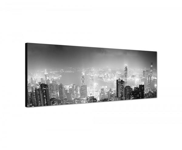150x50cm Hongkong Wolkenkratzer Nacht Lichter