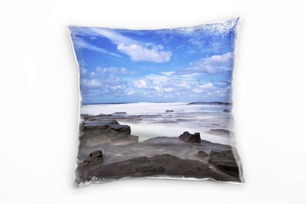 Strand Und Meer Brandung Wolken Grau Blau Deko Kissen 40x40cm