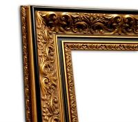 Exklusiver Echtholzrahmen Antik gold mit floraler Ornamentik