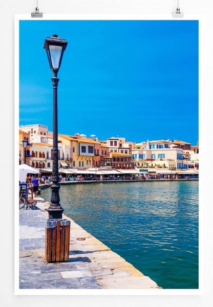 Landschaftsfotografie – Hafen in Chania Kreta Griechenland 60x90cm Poster