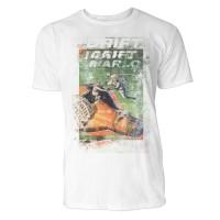 Drift Herren T-Shirts in Karibik blau Cooles Fun Shirt mit tollen Aufdruck