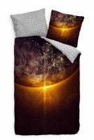 Sonnenaufgang Weltall Erde Licht Bettwäsche Set 135x200 cm + 80x80cm  Atmungsaktiv