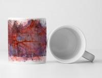 Tasse Geschenk rotes Muster und blau-graue Grundierung