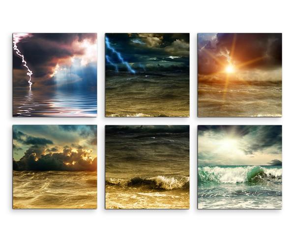 6 teiliges Leinwandbild je 30x30cm -  Wolken Wellen Meer Unwetter