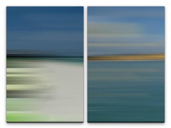 2 Bilder je 60x90cm Pastelltöne Horizont Türkis Minimal Sanft Modern Seelenfrieden