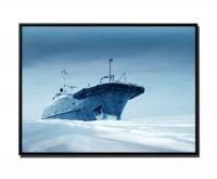105x75cm Leinwandbild Petrol Eisbrecher im Eis