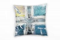 Couch Sofa Lounge Zierkissen in 40x40cm Wasserblau Hellgelb Grauweiß