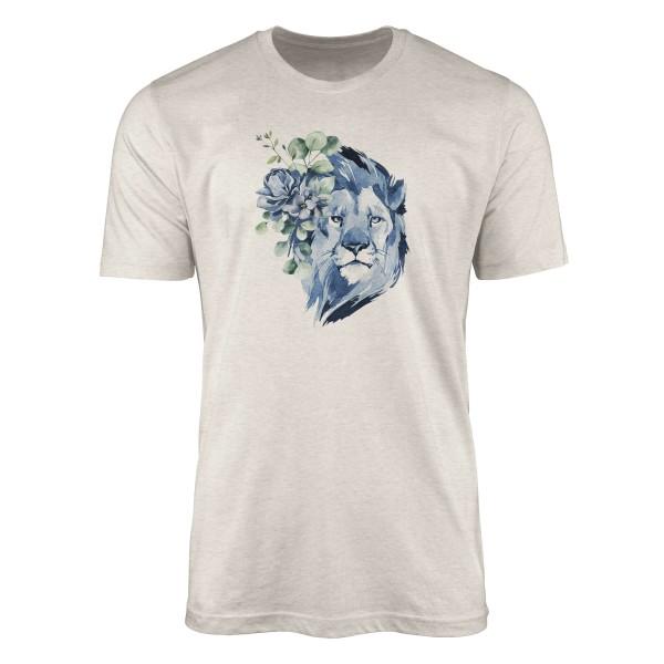 Herren Shirt 100% gekämmte Bio-Baumwolle T-Shirt Aquarell Löwe Blumen Motiv Nachhaltig Ökomode aus