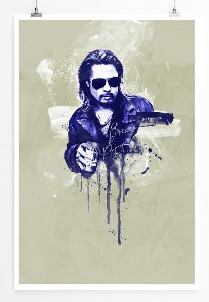 Brad Pitt 90x60cm Paul Sinus Art Splash Art Wandbild als Poster ohne Rahmen gerollt