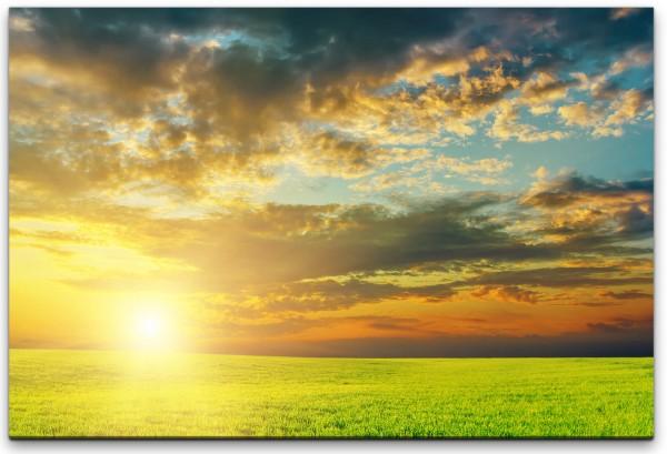 Sonnenuntergang über grünem Feld Wandbild in verschiedenen Größen