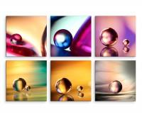 6 teiliges Leinwandbild je 30x30cm -  Glaskugel Murmeln Mehrfarbig