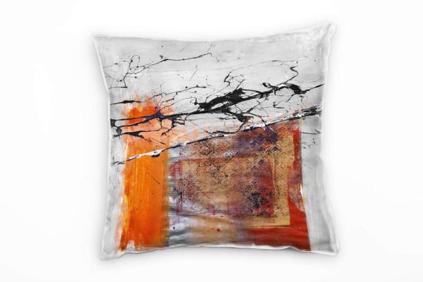 Couch Sofa Lounge Zierkissen in 40x40cm Orange indisches Rot Schwarz Grau