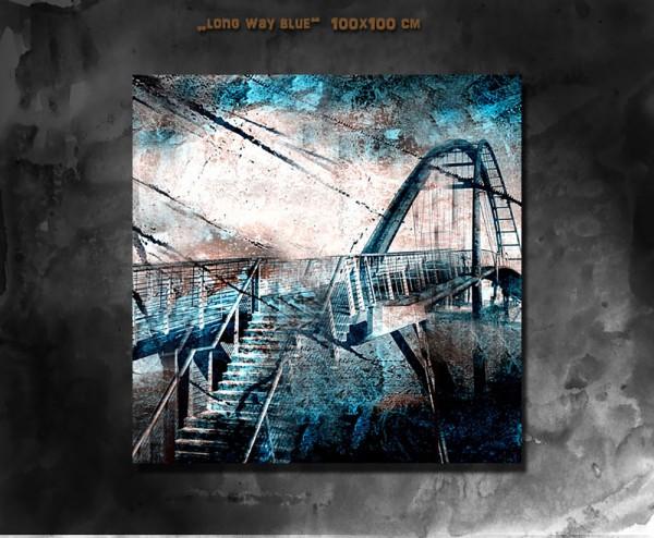 Long way blue 100x100 cm
