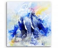 Sitzender Elefant in Blautönen mit Kalligraphie