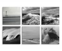 6 teiliges Leinwandbild je 30x30cm -  Schwarz Weiß Wellen Leuchtturm Strand