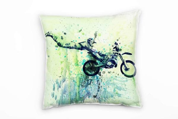Motocross Jumps Deko Kissen Bezug 40x40cm für Couch Sofa Lounge Zierkissen