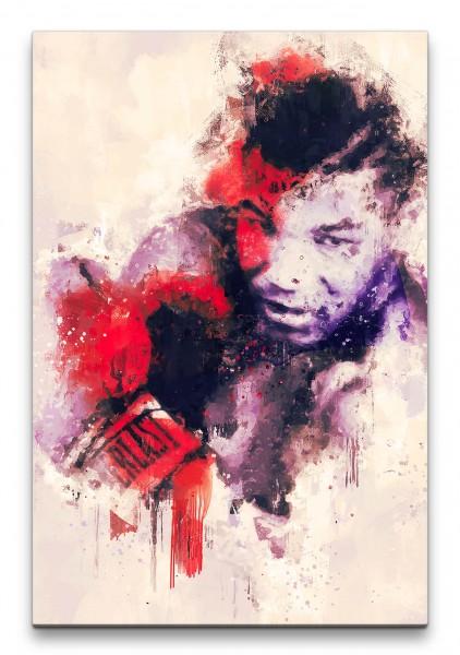 Mike Tyson Abstrakt Kunst Boxer Boxlegende rote Farbe 60x90cm Leinwandbild